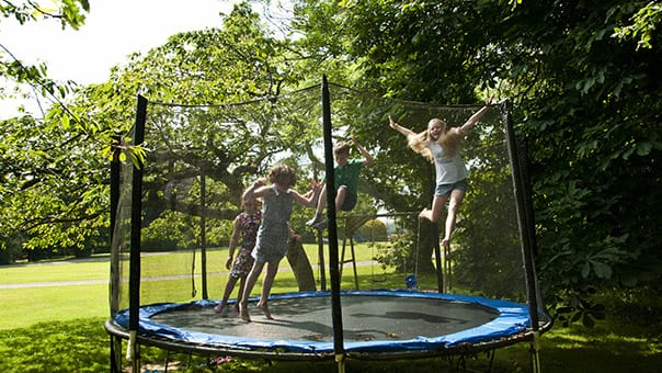 Trampolining on Broomhill Manor Grounds